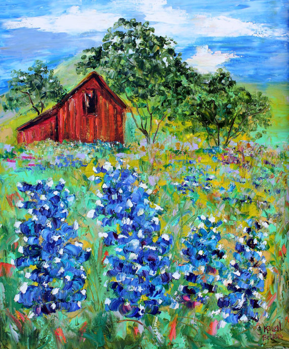 Original oil painting Texas Bluebonnets and Barn landscape abstract palette knife impressionism on canvas fine art by Karen Tarlton by Karensfineart