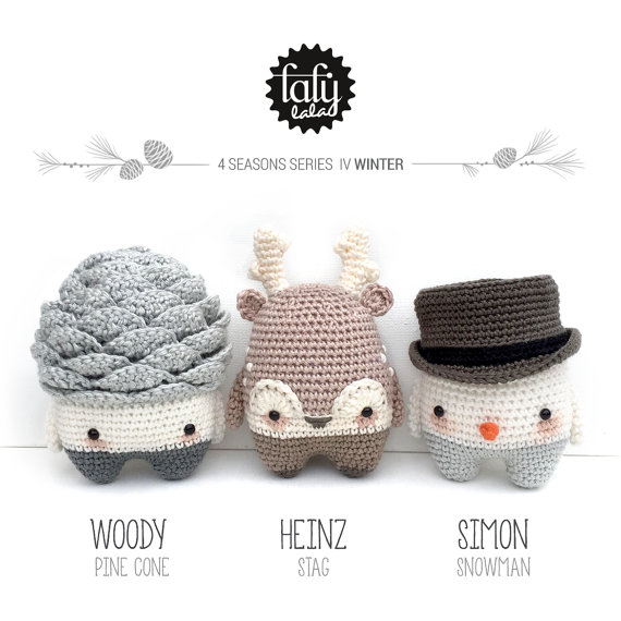 lalylala 4 SEASONS amigurumis - WINTER - (pine cone, reindeer, snowman) PDF crochet pattern by lalylala
