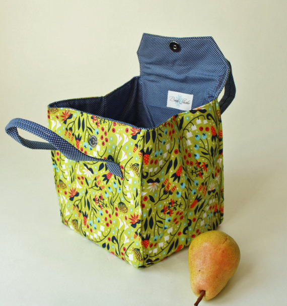 Lunch Bag in Field Flowers - Insulated Lunch Bag - Bento Box Carrier with Magnetic Snap - Ready to Ship Lunch Tote by binskistudio