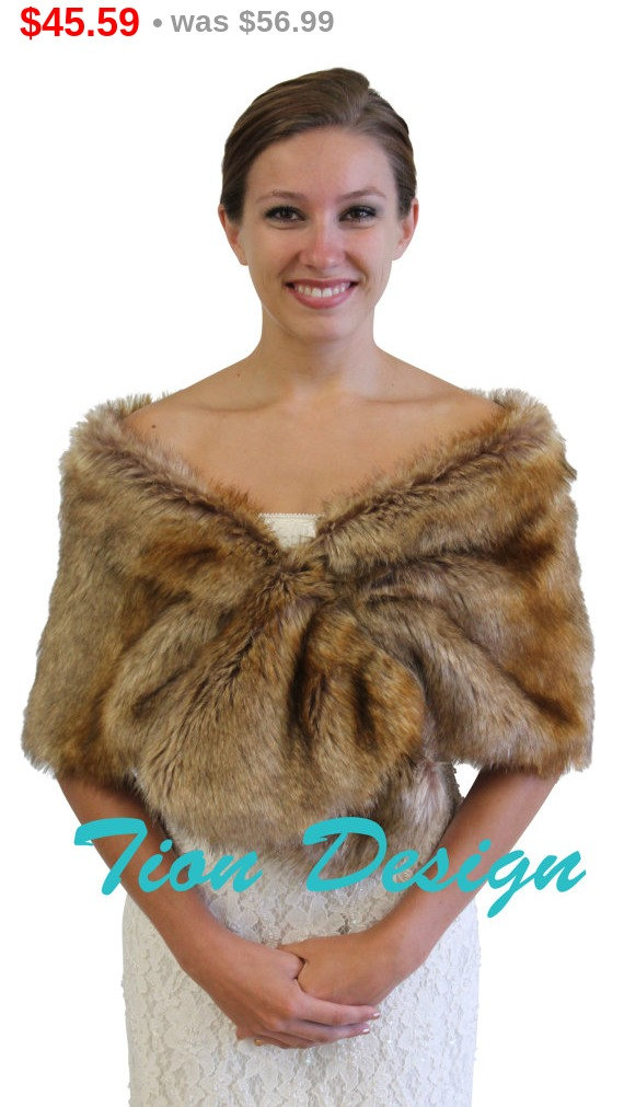 Black Friday Vintage Brown faux fur wrap, Bridal wrap, Bridal shrug, faux fur shrug, faux fur stole, faux fur shawl, faux fur cape 800M-VBRN by TionDesign