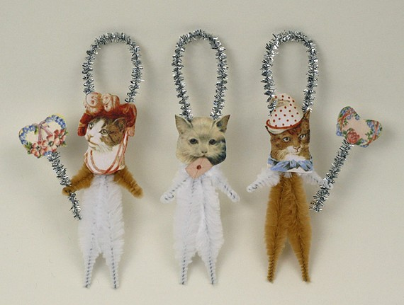 Romantic Chenille Cat Ornaments – Shabby Chic Christmas Decorations by oldworldprimitives