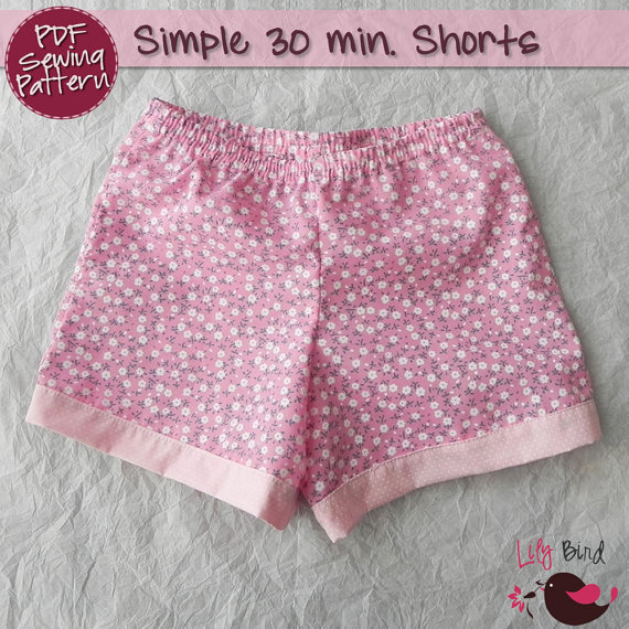Simple 30 minutes Shorts for boy / girl- perfect project for beginners – 0 months to 8 years – PDF Pattern and Tutorial – easy sew by TheLilyBirdStudio