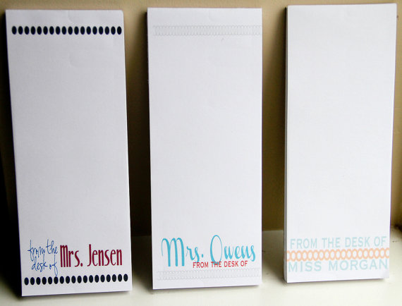 set of 3 personalized teacher notepads from the desk of