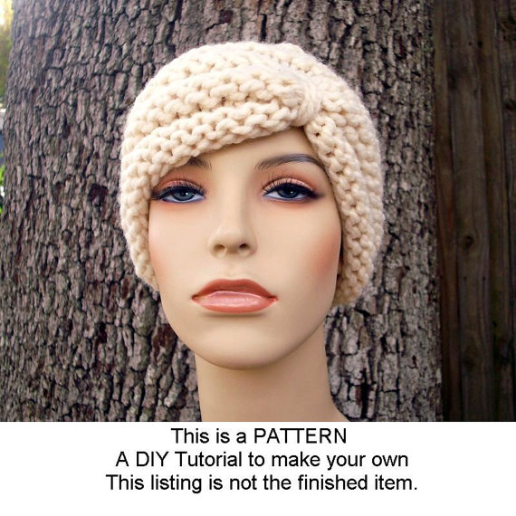Instant Download Knitting Pattern - Knit Hat Knitting Pattern - Knit Hat Pattern for Turban Hat Beanie - Womens Hat - Womens Accessories by pixiebell