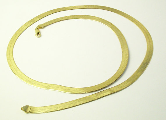 Vintage Long Sterling Silver Gold Vermile Serpentine Necklace Fine Jewelry on Etsy by WeLoveVintageJewelry