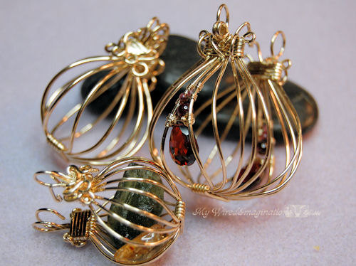 Wire Wrap Pendants Tutorial - 2 Hinged Cages and a Locket - Instant Download PDF File, Instructions by MyWiredImagination
