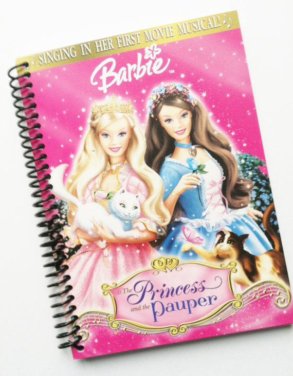 BARBIE Journal Diary Notebook recycled Spiral Bound by PortElizabethVillage