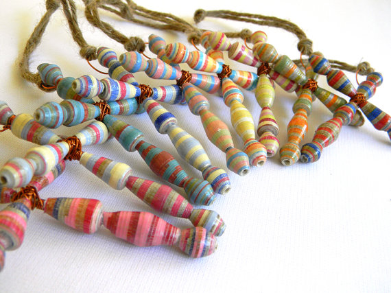 Paper Bead Cross Ornament - Set of 9 - # RAN103 by BeadAmigas