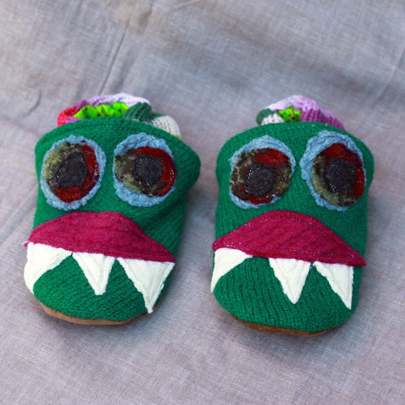 Green Monster Wool Slippers Kids Slippers Leather Bottom Size 3-4 years old made from recycled materials by littlefriendsco