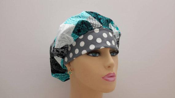 Bouffant Cap / Medical Scrub Cap – Contempo Casual Patchwork -White / Gray Polka Dot Rim by surgihats4u
