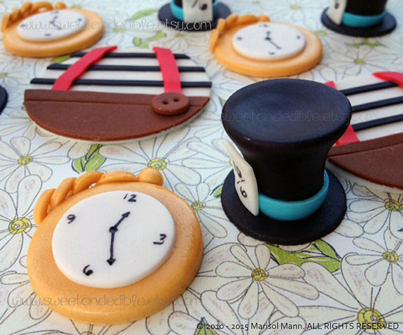 12 ALICE in WONDERLAND inspired. Edible Cupcake Toppers by SWEETandEDIBLE