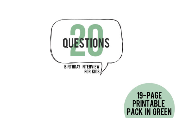 20 Questions Birthday Interview for Kids Printable Pack in GREEN by PromptShop