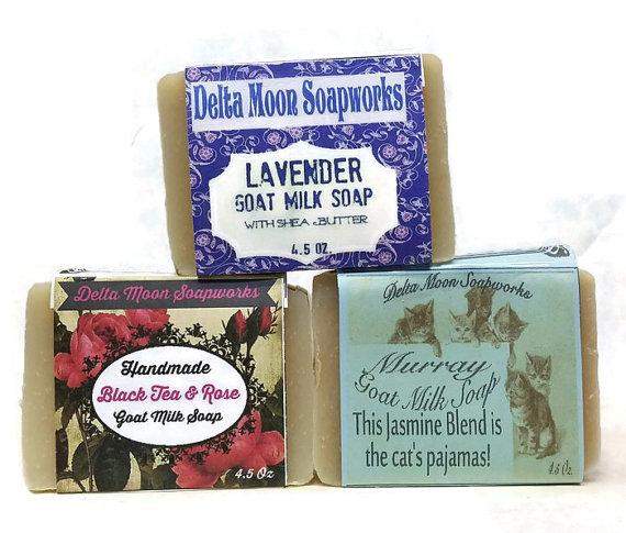 Shea Butter Floral Goat Milk Soaps,Shea Butter Soap, Olive Oil Soap, Eco-friendly soap, Rose soap, Jasmine Soap, Lavender Soap, gift soap by deltamoonsoap