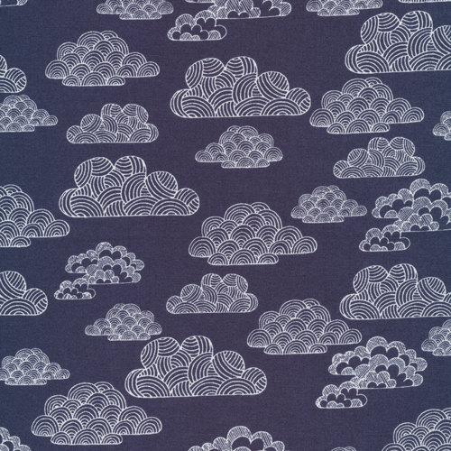 Cloud9 Organic Fabrics – First Light – Nimbus Navy 1/2 YD by kindsupplies