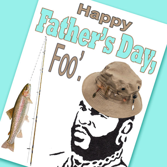 Mr. T Father's Day Card (& quot; Happy Father's Day, Foo '& quot;) tan and blue – for dad – funny father's day card – fishing by LucysArtEmporium