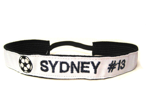 Custom Soccer Athletic Sport Headband - add Player name and number by PurpleLicious
