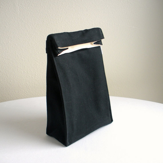 Insulated Lunch Bag - Eco Friendly, Organic Cotton - Black by IslandPicnic