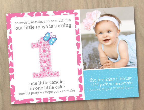 Baby Girl First (1st) Birthday Photo Invitation – Flowers and Butterfly Pink Purple Blue – Custom Printable Digital File by DesignAndLife
