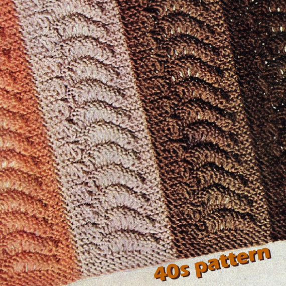 Knitting Pattern - Vtg 40s Afghan Pattern Knit in Strips Falmouth PDF Repeating Wave Theme by sewinghappyplace
