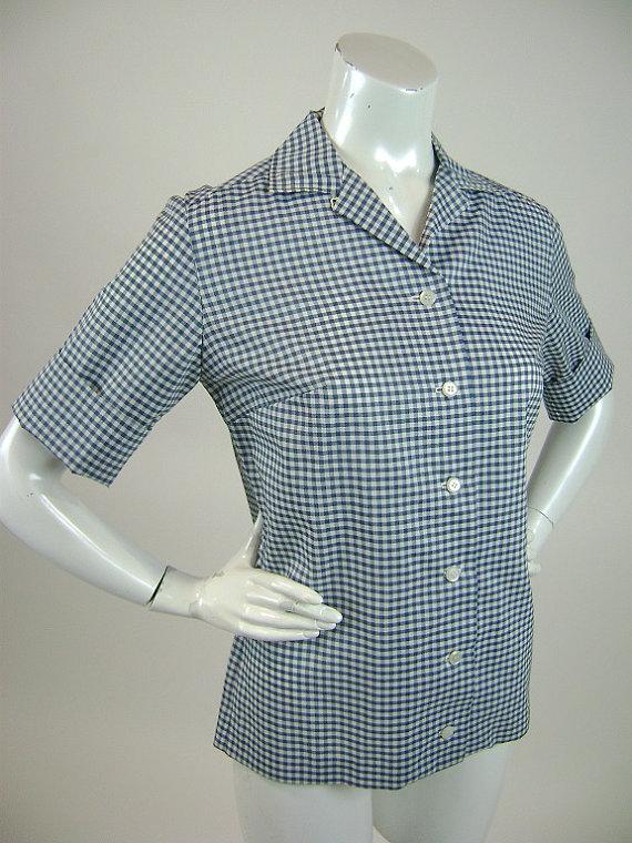 af7d9848246 Vintage 1960s Blouse, Retro Blue and White Gingham Check, Short ...