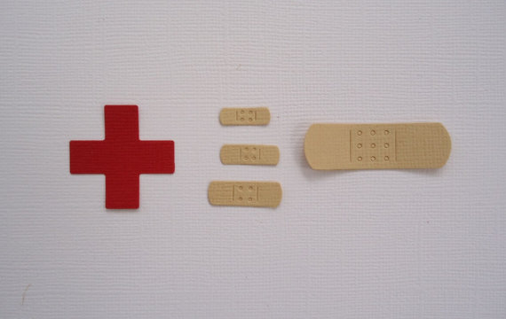 Band Aid and Red Cross Die Cuts for Cards Scrapbooking and Paper Crafts by pinkdesertbluebird