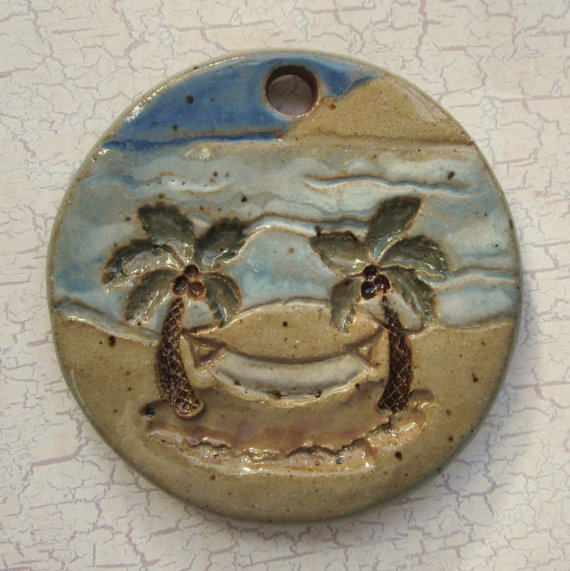 Custom Large Handmade Clay Pottery Pendant Charm or Ornament – Choose Shape and Color – Hammock Scene by NAsHandcraftedGifts