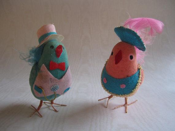 Midcentury Easter Chicks Couple by tinymuses