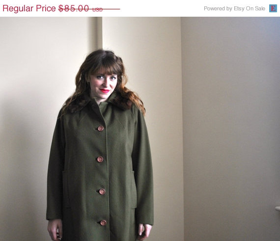 50s Olive Green Coat - Wool Coat - Mink Fur 1950s Wool Swing Coat by WayfaringMagnolia