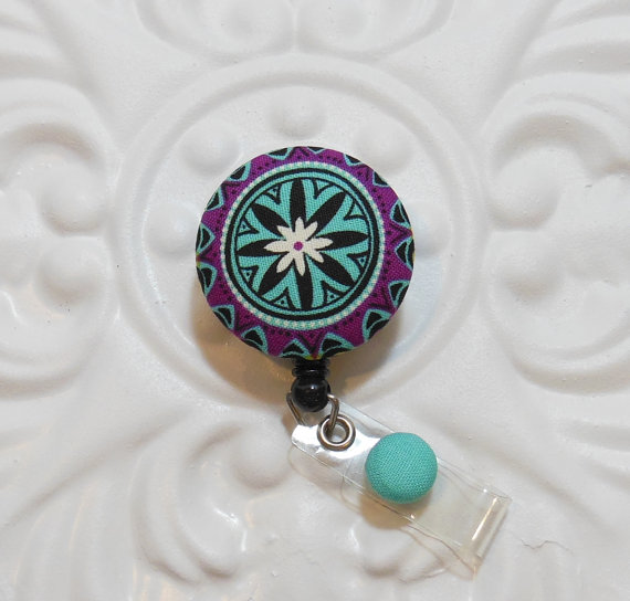 Retractable Badge Holder Id Reel Fabric Covered Button Turquoise Black And Purple by belleadees