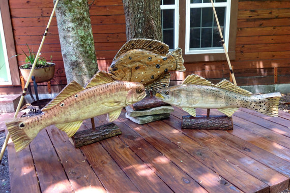 Custom Wooden Trophy Fish chainsaw carving mounted on Oak Base 24 & quot; You pic species and quantity. Fishing tournaments / decor / gift / promotions by oceanarts10