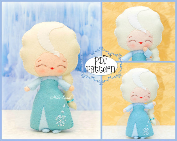 PDF. Elsa. Fairy tale pattern. Plush Doll Pattern, Softie Pattern, Soft felt Toy Pattern. by Noialand