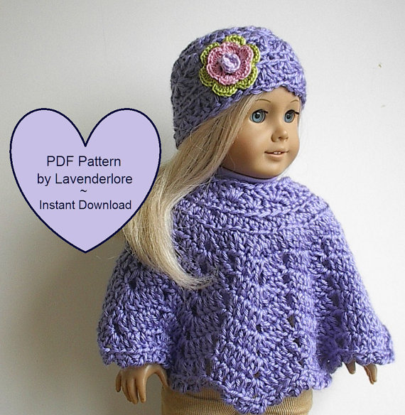 PDF CROCHET PATTERN by Lavenderlore for 18 & quot; Girl Dolls – Poncho and Hat with Irish Rose Pattern – Permission to Sell Finished Item by Lavenderlore