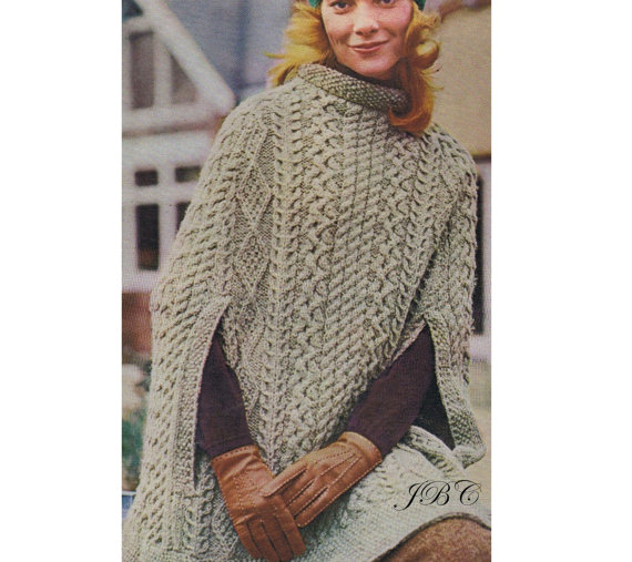 Aran Poncho Knitting Pattern Irish Cape Knee Length PDF SH106 by PatternBabe