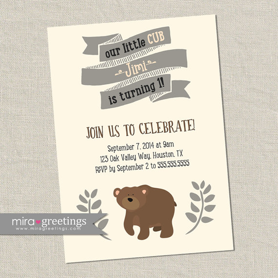 Bear Birthday Party Invitations Bear Cub Little Woodland