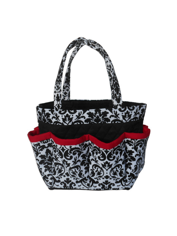 Black and White Damask with Red Trim Bingo Bag // Craft Organizer // Makeup Organizer // Caddy // Teacher Tote // Nurse Tote by sewtrendyrose