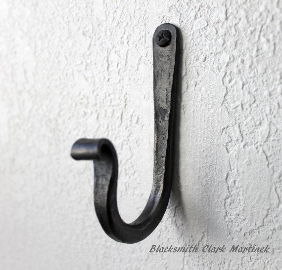 Single Wall Hook Black Metal Hook Blacksmith Hook Wall