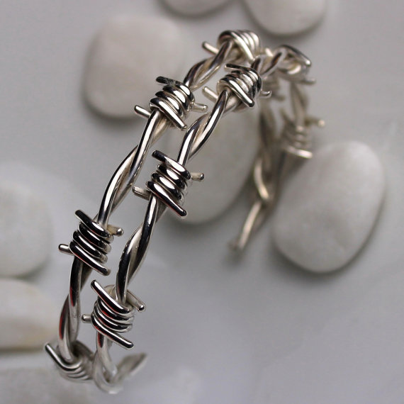 Barbed wire bracelet in sterling silver by larimaronline