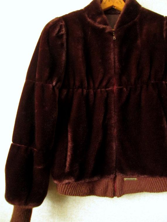 Faux Fur Jacket Vintage 80s coat bomber jacket dark chocolate brown vegan fur imitation sheepskin 40s style chubby womens medium Jordache by MySoftParade
