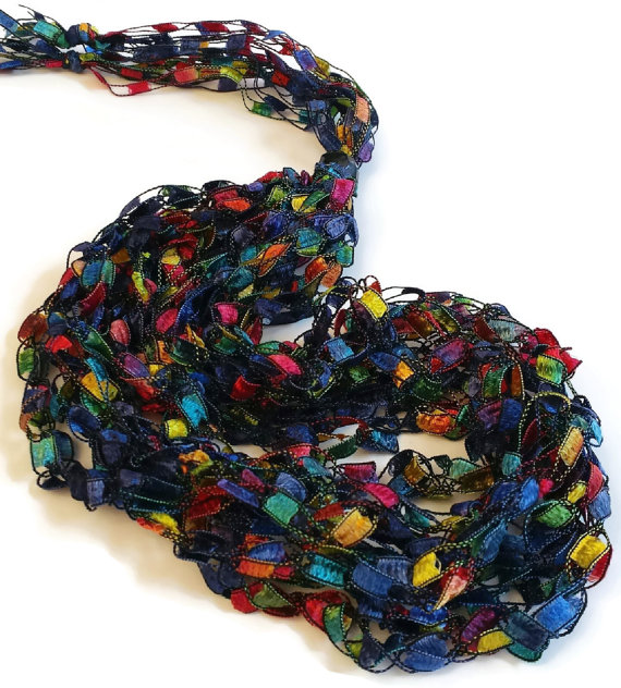 CLEARANCE SALE Colorful Yarn Necklace, Crochet Ribbon Yarn Necklace, Multicolor, Ladder Yarn Necklae by HandmadebyTinaB
