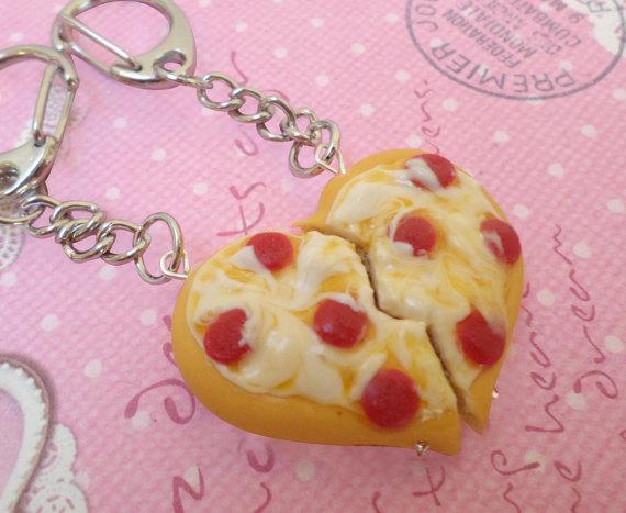 Best Friend Pizza Keychains: BFF Jewelry, Polymer Clay, Best Friend Keychain Set, Miniature Food Jewelry by Cherrydot