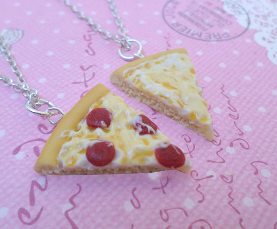Kawaii Best Friend BFF Pizza Necklaces, Polymer Clay Food Jewelry, Best Friend Presents by Cherrydot