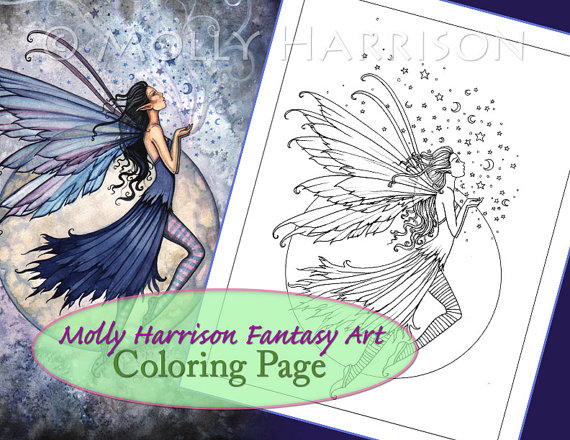 Midnight Blue - Digital Stamp - Printable - Moon Fairy Art - Molly Harrison Fantasy Art - Digistamp Coloring Page - Digi Stamp by MollyHarrisonArt