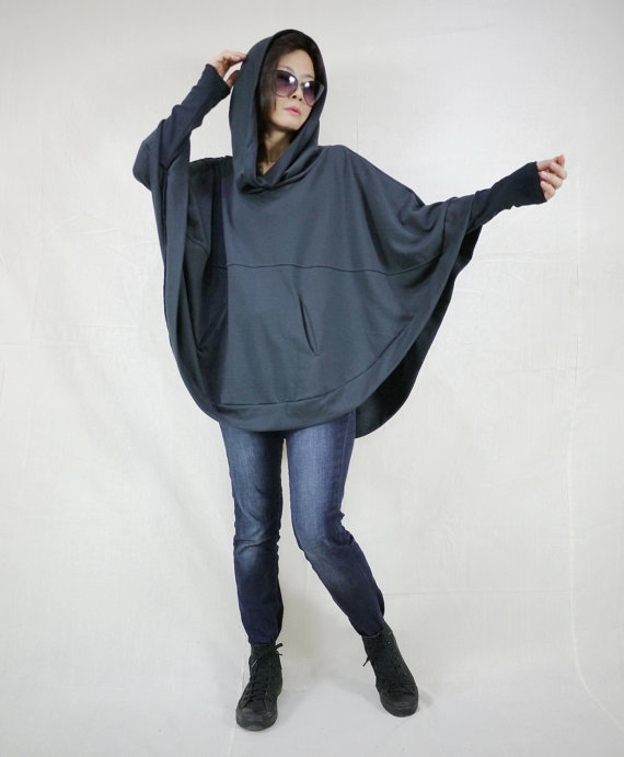 Dark Charcoal Cotton Mix Polyester Jersey Oversize Hood Cape Batwing Sweater Dolman Sleeve Blouse Women Tops Size 4 To Size 3X by beyondclothing