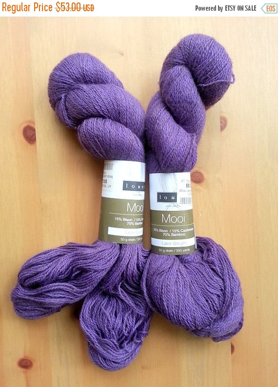ON SALE Louet Mooi Lace Weight Yarn, Bison, Cashmere, Bamboo, Lavender, Purple, Amethyst by SimplyPlaying1