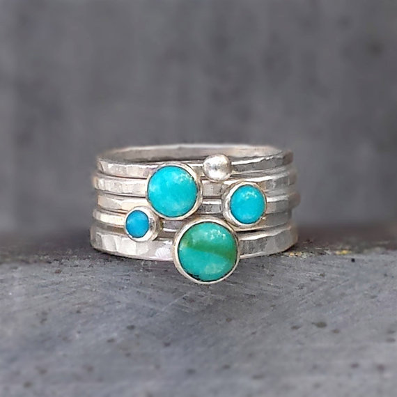 Hammered Silver Stacking Rings with Turquoise Gemstones, Stackable Rings, Recycled Sterling by bespokenjewelry