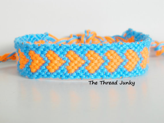 Neon Orange and Bright Light Blue Hearts Friendship Bracelet-Ready to Ship- by thethreadjunky