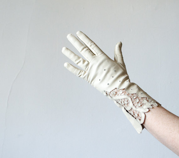 1950s vintage gloves / cream kidskin leather and lace gloves by PoppycockVintage