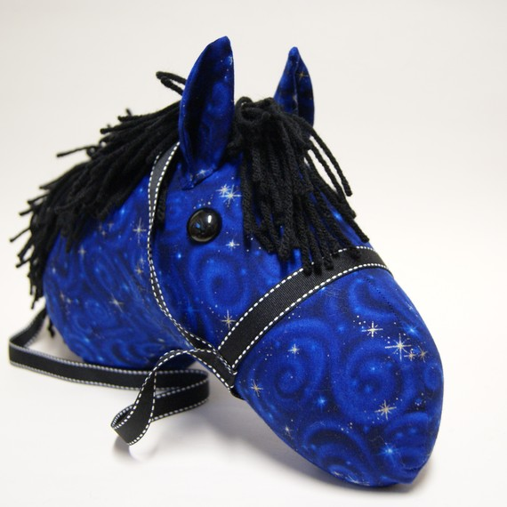 Stick Horse Head, Midnight Blue with Choice of Black or Blue Mane, MADE to ORDER, With or Without Stick by LilsGarden