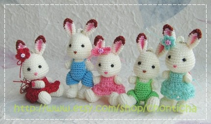 Mini Rabbit 2.5inches - PDF amigurumi crochet pattern by Chonticha