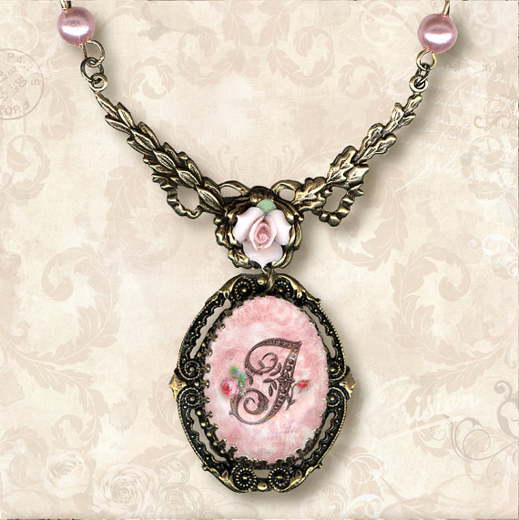 CUSTOM Initial Necklace- Vintage Paris Fashion - Rococo a la Rose Letter Frame by tzaddishop